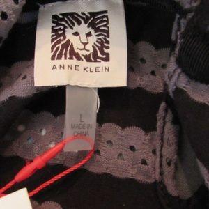 Anne Klein Tops - Anne Klein Striped Top, Black/Gray, L, NEW